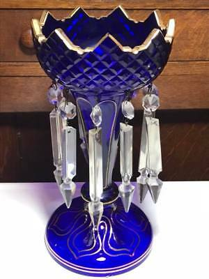 Antique Cobalt Blue Mantle Lustre with Crystal Prisms