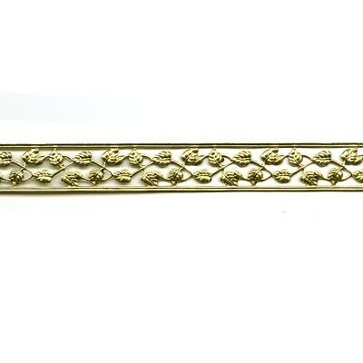 10 ft Lamp Gallery Banding Fine Filigree Leaves - Solid Brass - Made in the USA