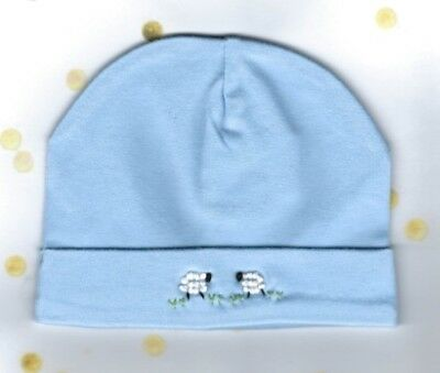 Baby Beanie, Embroidered Blue Sheep Baby Beanie, Baby Hat, Size 0000 - 000