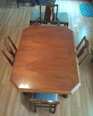 Antique Walnut Table With 6 Chairs (1 Is Capt.), 2 Leafs Extend Table To 8 Feet-