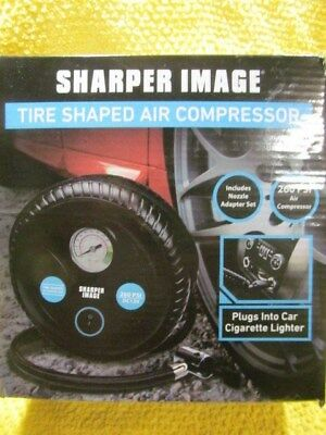 Sharper Image Tire Shaped Air Compressor New In Box 260 Psi Nozzle