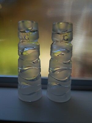 Pair of JG Durand Crystal Glass Candle Holders. w/ Stickers.