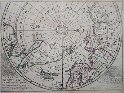 1732 Herman Moll Mapa Polo Norte Map of the North Pole with all the territories