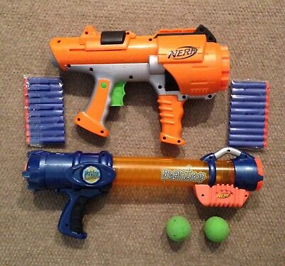 Lot of 2 Nerf Dart Tag 10 Shot HyperFire Gun & Nerf Reactor Atom Blaster TESTED