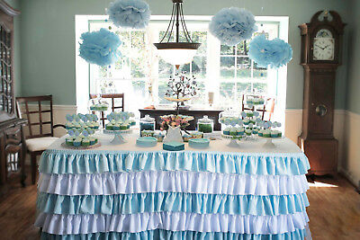 white & Blue Table Skirt Polyester 6'Ft For any special event