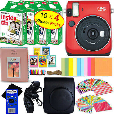 Fujifilm instax mini 70 Instant Film Camera (Red) + 40 sheet Film + Acc Kit