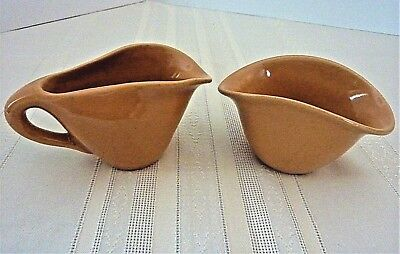 Vintage Rosemeade Pottery North Dakota Cream and Sugar Set Peachy Tan Color