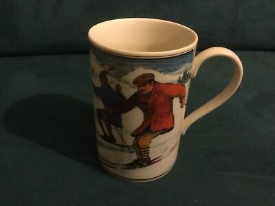 Dunoon pottery mug, snow Skiing picture