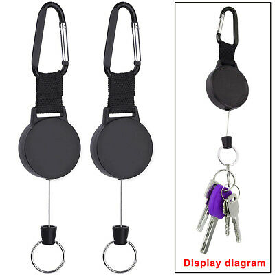2x Retractable Key Tool Reel Holder Steel Clip Chain Belt Heavy Duty Split Black