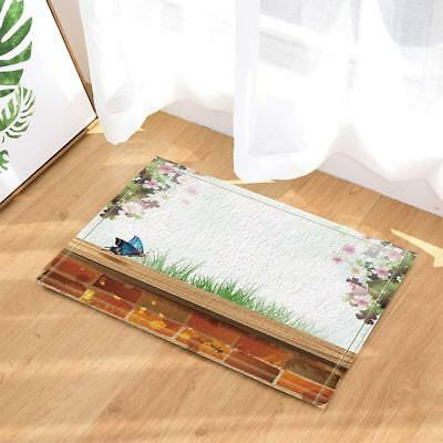 Hot Nature Scenery Red Brick Wall Butterfly Flowers Bath Rugs Non-Slip Bath Mat