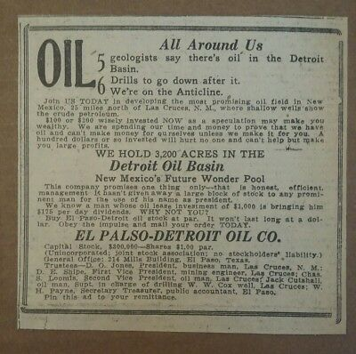 1919 El Paso Detroit Oil Co Stock Ad Texas