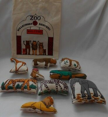 Hand Made Cotton Welkommen Zoo Animal 9 pc Set With Bag From Germany - Zoo Bag