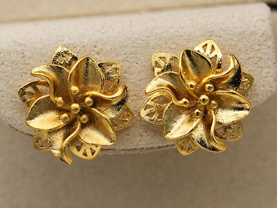 18K Gold Filled - Flower Hollow 2-Layer Rivets Bridal Party Lady Stud Earrings