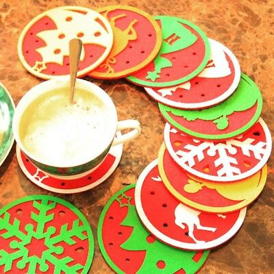 Christmas Coffee Water Cup Coaster Insulation Beverage Mug Pad Table Decorations