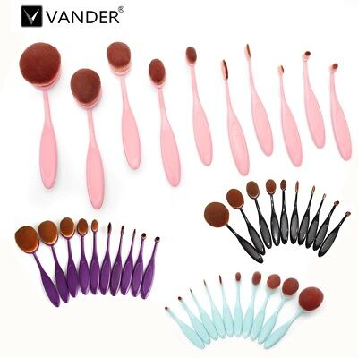 Vander 10Pcs Beauty Collection Kit Color Optional Oval Makeup Cosmetic Brush Set