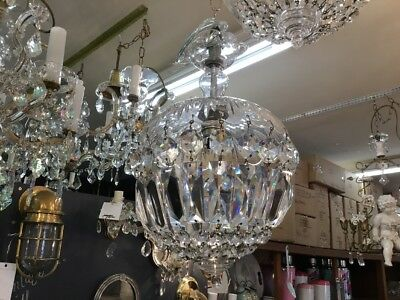 2x VINTAGE CHANDELIER HALLWAY PAIR DOME CZECH CRYSTAL BASKET LIGHT No.125