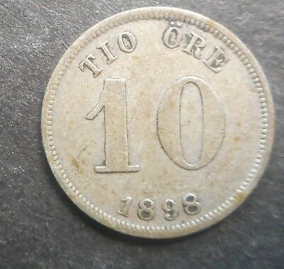 Sweden  1898 10  Ore Silver Coin Nice Good detail