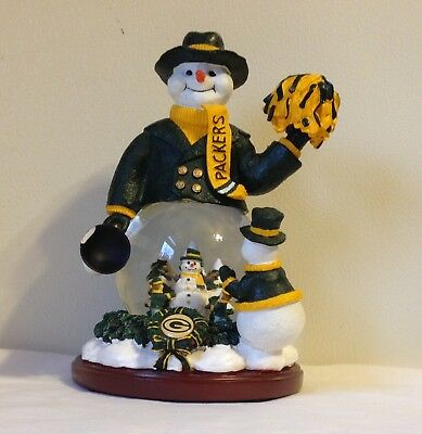 "Green Bay Packers Snow Globe  ""Snowman Cheer"" 3 Snowmen Aaron Rodgers Favre Look"