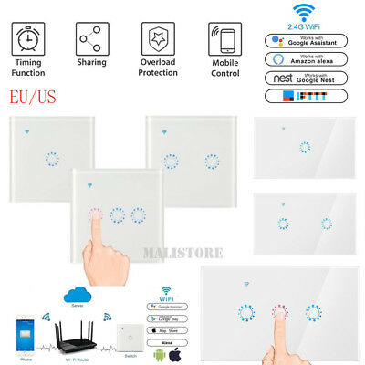WIFI Smart Wall Light Touch Panel Switch App Timing Socket For Alexa Google Home