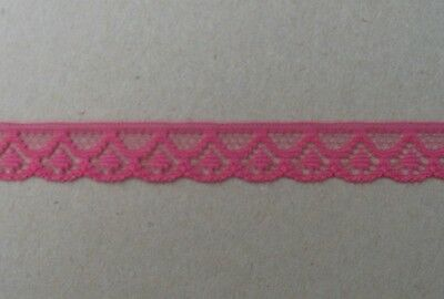 CRAFT-SEWING-LACE 15mtrs x 12mm Cerise Pink Soft Lace