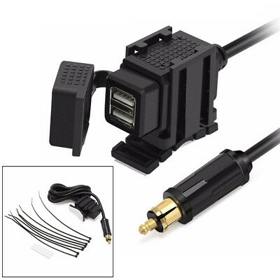 HandleBar USB Charger Power Socket For BMW Motorcycle Bike Hell DIN Adapter Plug