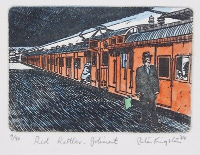 Peter KINGSTON 'Red Rattler Jolimont' - ORIGINAL etching SIGNED LIMITED EDITION