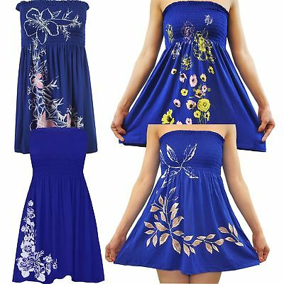 2a9169bc288 Ladies Plus Size Royal Blue Floral Leaves Strapless Sheering Boobtube  Summer Top