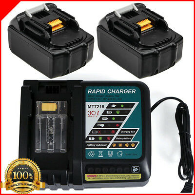 2x 18V 5.0AH Battery for Makita BL1860 BL1840 BL1830 BL1815 + Rapid Charger