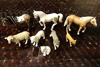 Lot Of 8 Schleich animal figures Horses Palomino Wolves Cat Polar Bear Sheep