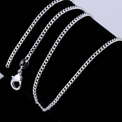 Women 925 Sterling Silver Necklace Replacement Neck Chain 16/18/20/22/24inch US
