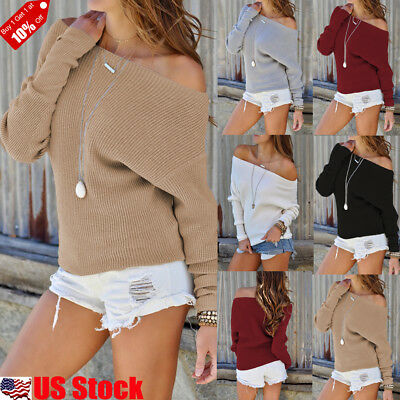 Womens Off the Shoulder Chunky Knit Jumper Ladies Oversized Baggy Sweater Top US