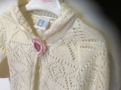 VIntage Style Crochet Shawl/Cardigan with pink rosette. Baby World GIrls Size 1