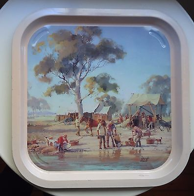 VINTAGE Willow Australia Metal Tray *The Gold Rush - Panning for Gold *Booth