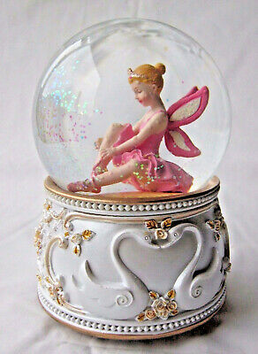 Large White & Gold Pink Ballerina Fairy Musical Snowglobe Glitter Water Ball