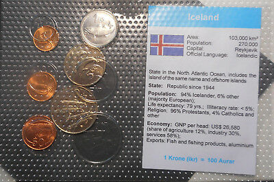 Iceland 1981 -94 Uncirculated  Coin set of  6  to 10 Kroner  B/UNC