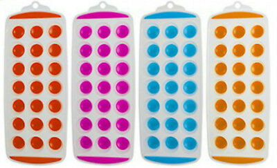 New 21 Hole / Cavity Easy Pop Out Silicone Ice Cube Tray - Red/pink/blue/orange