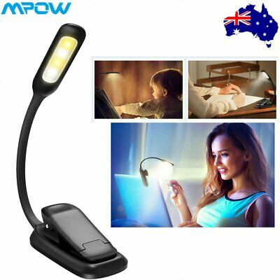 Mpow 7 LED Book Reading Light Clip on Rechargeable 3-level Brightness Lamp New