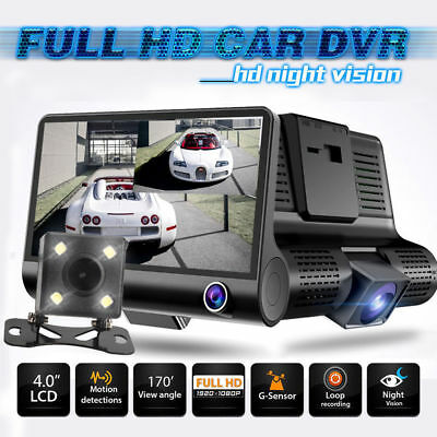 4'' Dual Lens Full HD 1080P Auto Kamera Rearview Dashcam Car DVR Video Recorder