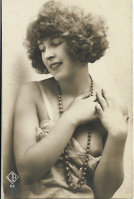 Original old French real photo postcard Art Deco nude study 1920s RPPC pc #090