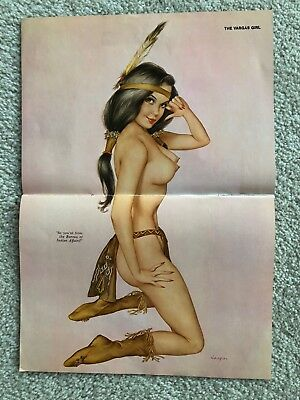 "April 1973 Playboy ALBERTO VARGAS Pin Up ~ ""So you're from the Bureau of Indian"""