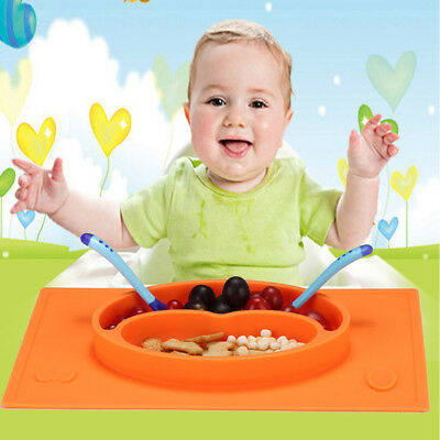 Cute Baby Kid Snack Food Mat Silicone Non Slip Placemat Suction Table Plate Tray