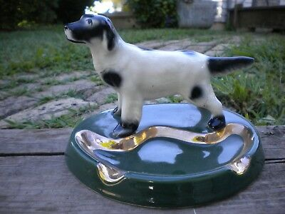 Pointer Dog White & Black Ceramic- Ashtray Figurine-Statue-Hand Painted Vintage