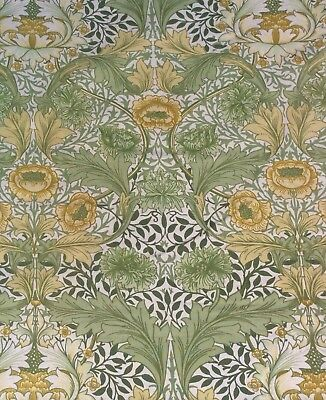 Sanderson William Morris Myrtle Curtain Weight Fabric Remnant green & yellow
