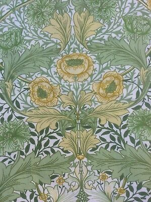 2x Pieces Sanderson William Morris Myrtle Curtain Weight Fabric green & yellow
