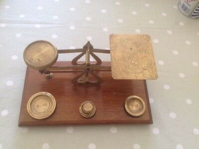 Antique Wooden and Brass Letter/Postal  Scales with Weights