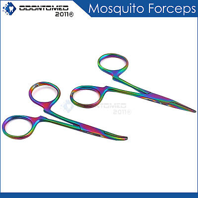 """Mosquito Forceps Str + Cvd 3.5"""" Rainbow Multi Color (Without Ratchet) Surgical"""