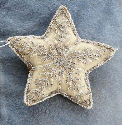 Antique Vintage Ornament STAR 1920s velvet embroidered silver glass beads