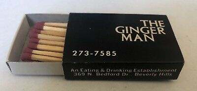 THE GINGER MAN VTG wooden matches MATCHBOX BEDFORD DRIVE BEVERLY HILLS CA