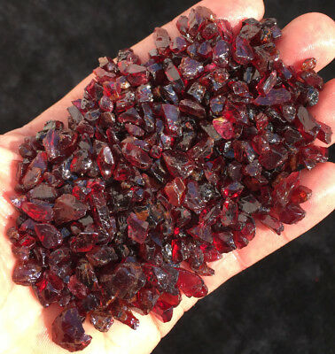 100g  TOP!!! Natural Pretty RED Garnet Rough Rock Polished Particles sl002