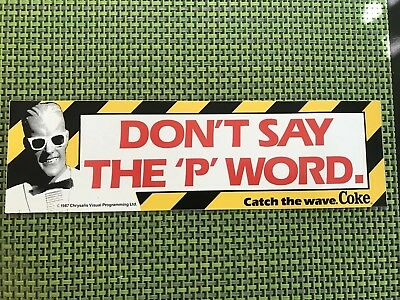 1987 Coca Cola Stickers Max Headroom Adhesive is still covered on the back